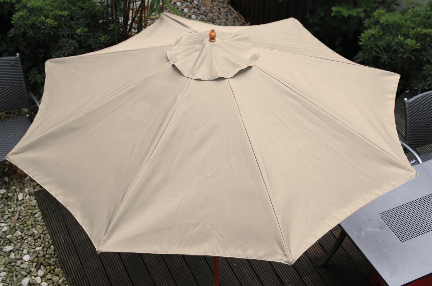 summer sale sonnenschirm holz marktschirm rund beige 6660653 ca 2 50 m ebay. Black Bedroom Furniture Sets. Home Design Ideas